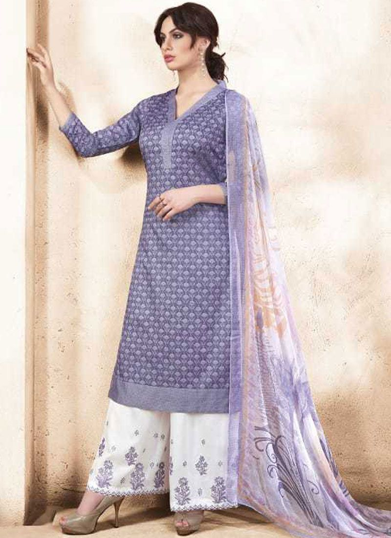 12866c2a0c Buy Cotton Silk Purple Embroidered Work Palazzo Salwar Suit Online : 84275 -