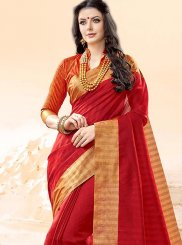 Cotton Silk Red Traditional  Saree