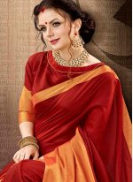 Cotton Silk Red woven Work Traditional  Saree