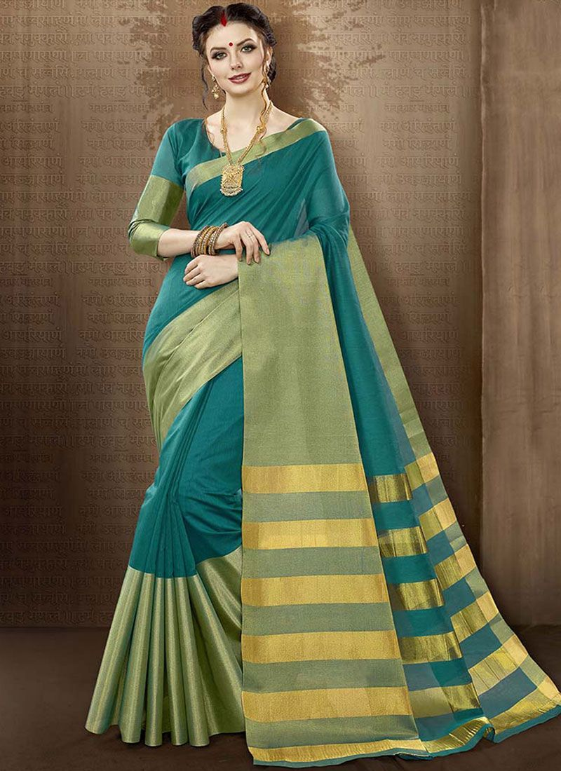 Cotton Silk Teal woven Work Traditional  Saree