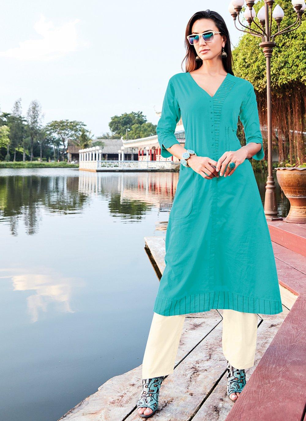 Cotton Silk Turquoise Party Wear Kurti