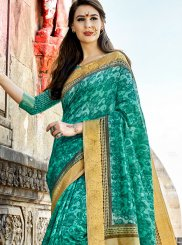 Cotton Silk Turquoise Printed Work Traditional  Saree