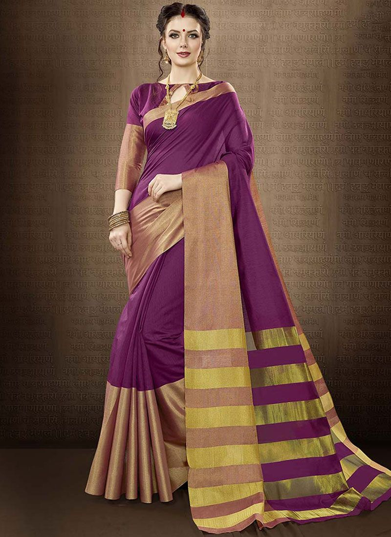 Cotton Silk woven Work Traditional  Saree
