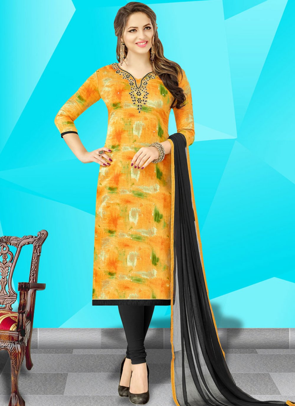 Cotton   Stone Work Churidar Designer Suit in Yellow
