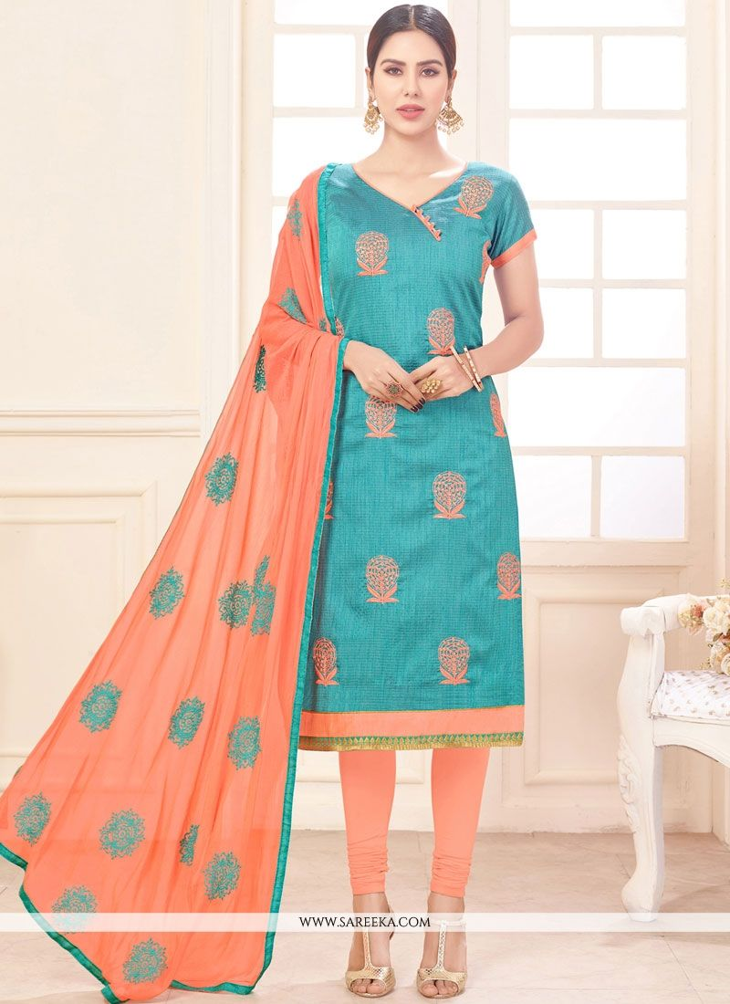 Cotton   Turquoise Lace Work Churidar Suit