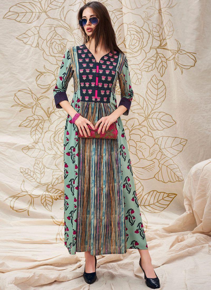 Cotton   Turquoise Printed Designer Kurti