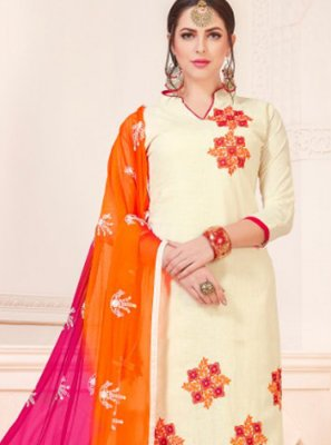 Cotton   White Churidar Suit