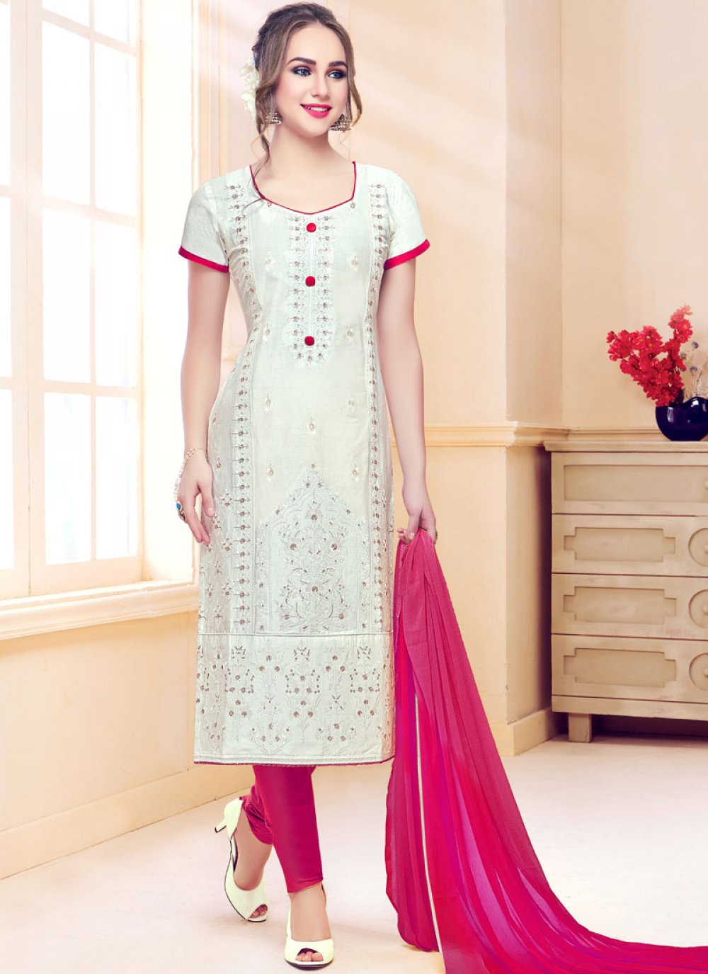 Cotton   White Resham Churidar Designer Suit