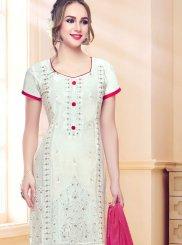 Cotton   White Resham Churidar Designer Suit