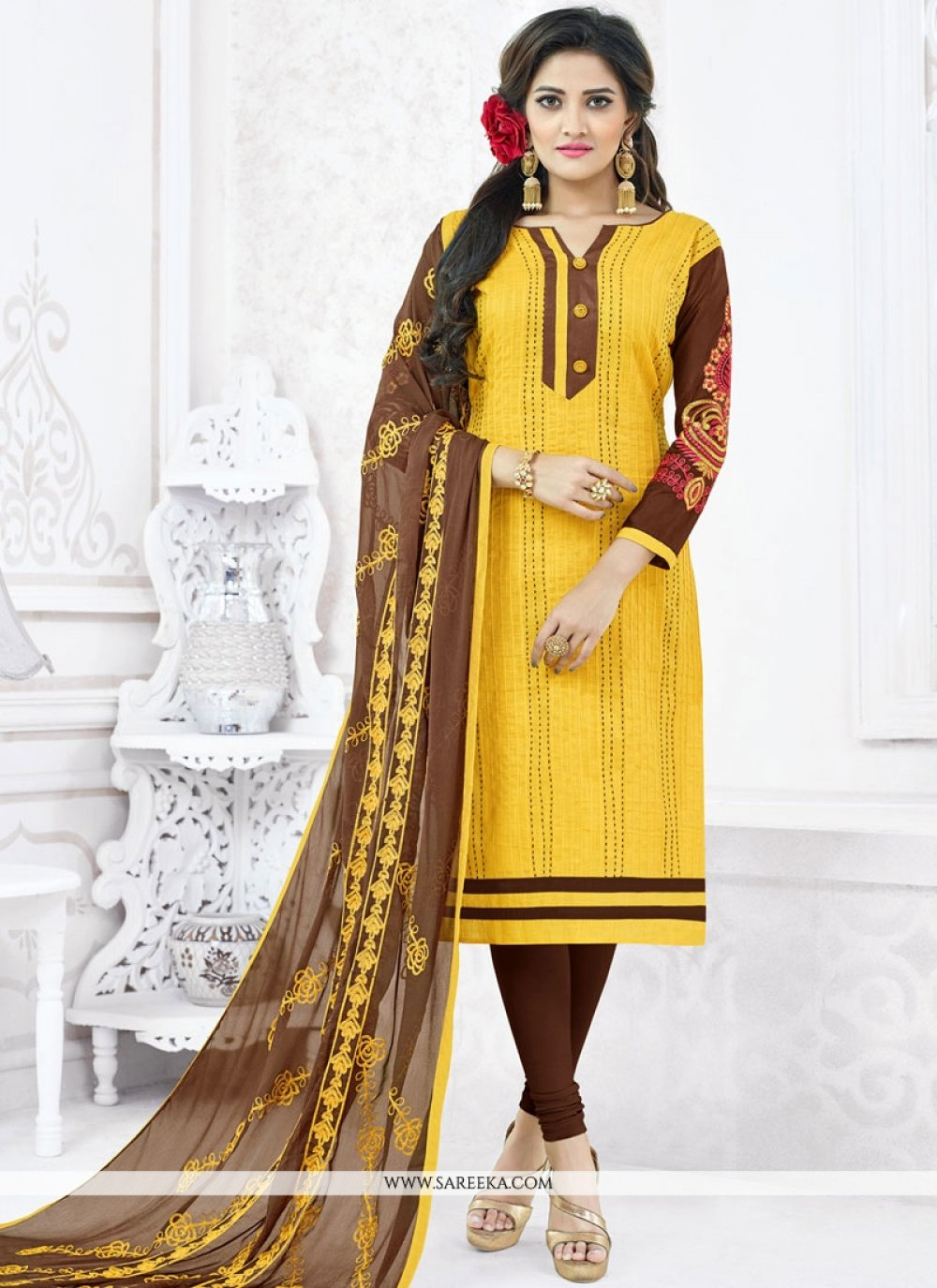 Cotton   Yellow Embroidered Work Churidar Suit