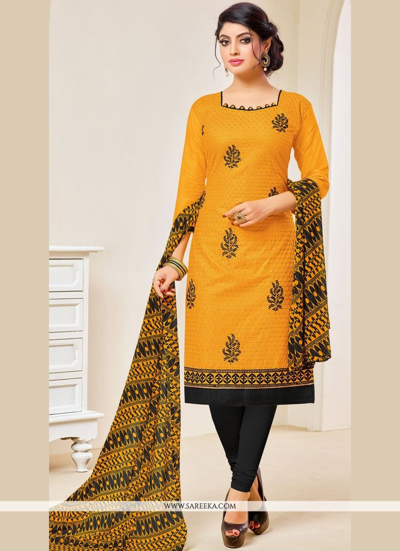 Cotton   Yellow Embroidered Work Salwar Kameez