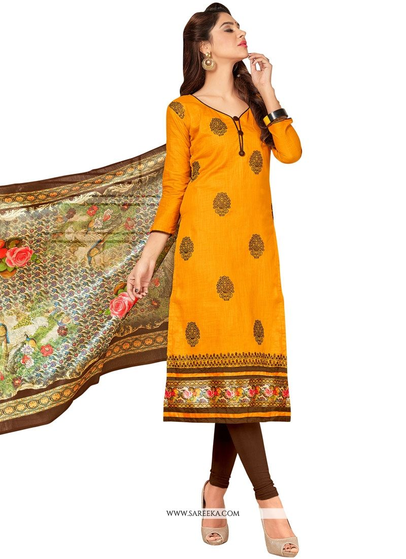 Cotton   Yellow Embroidered Work Salwar Suit