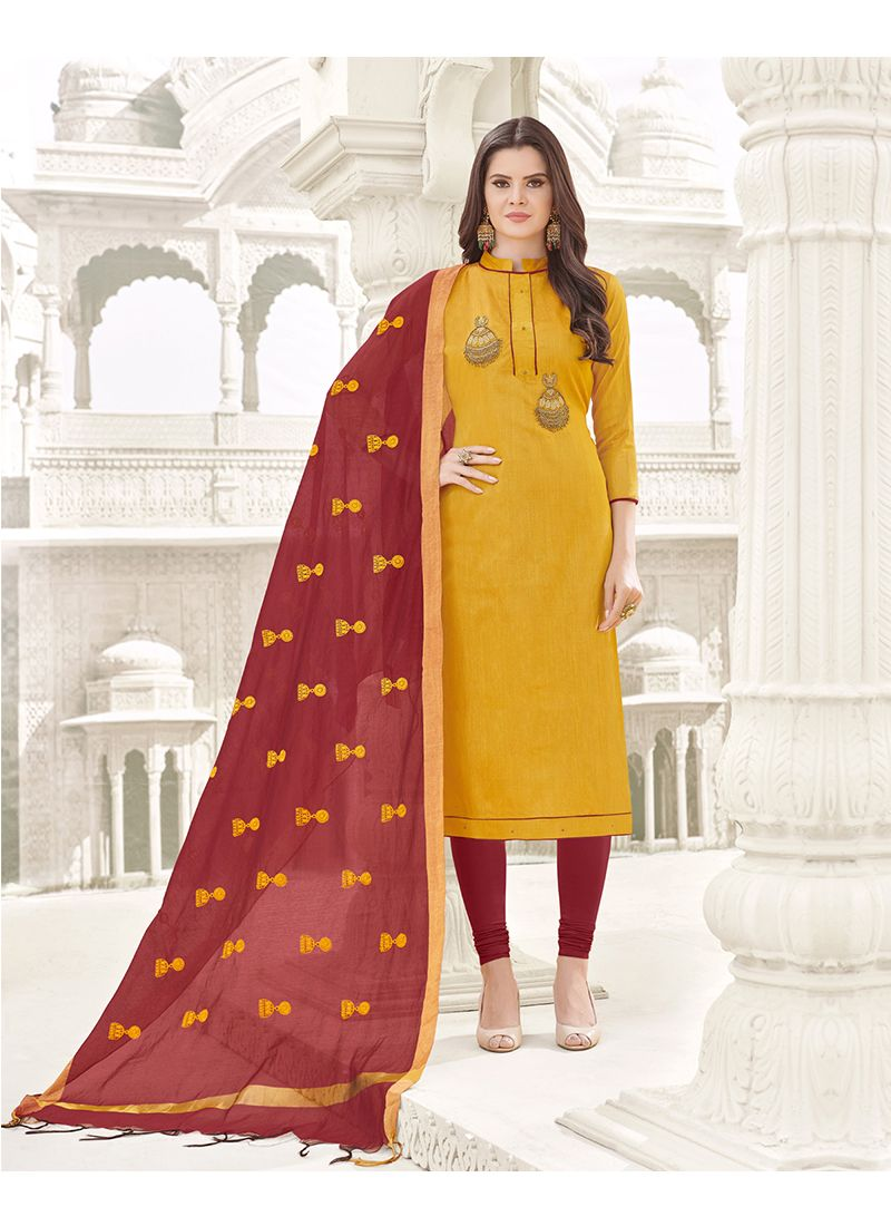 Cotton   Zari Work Churidar Designer Suit