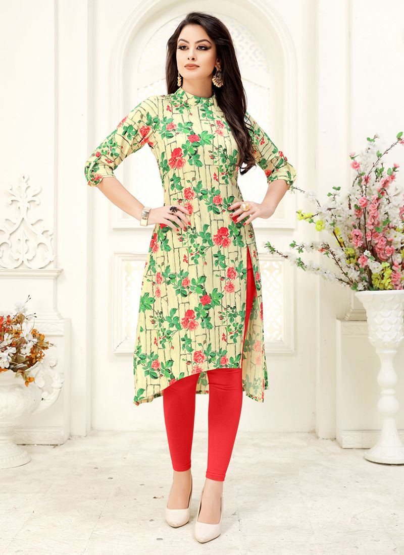 Cream and Green Party Faux Crepe Party Wear Kurti