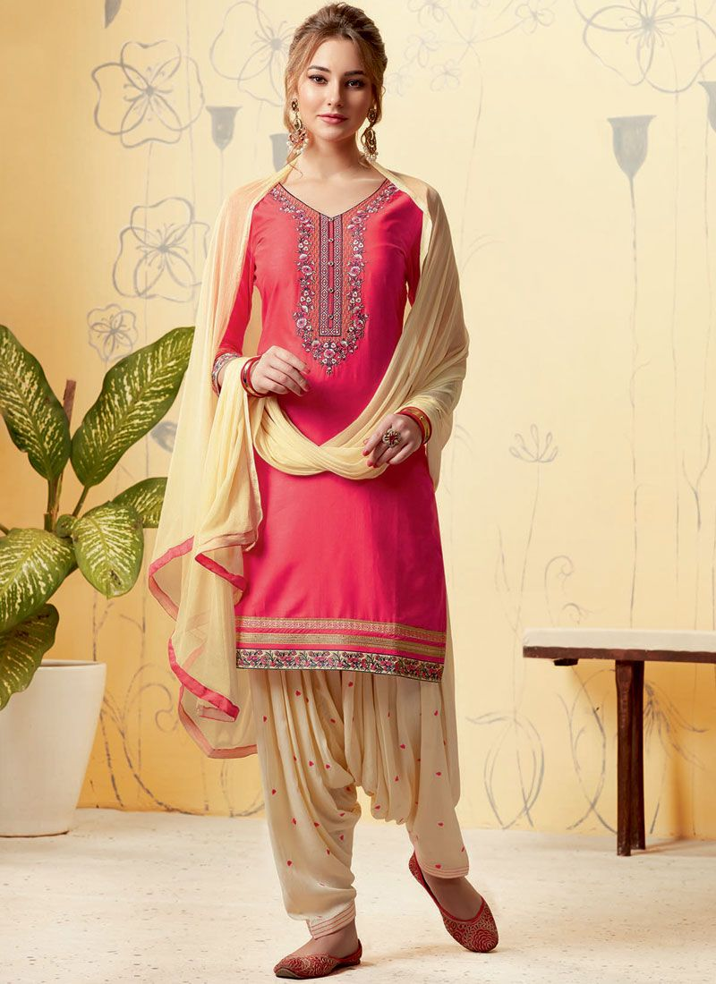 Cream and Pink Casual Satin Designer Patiala Suit