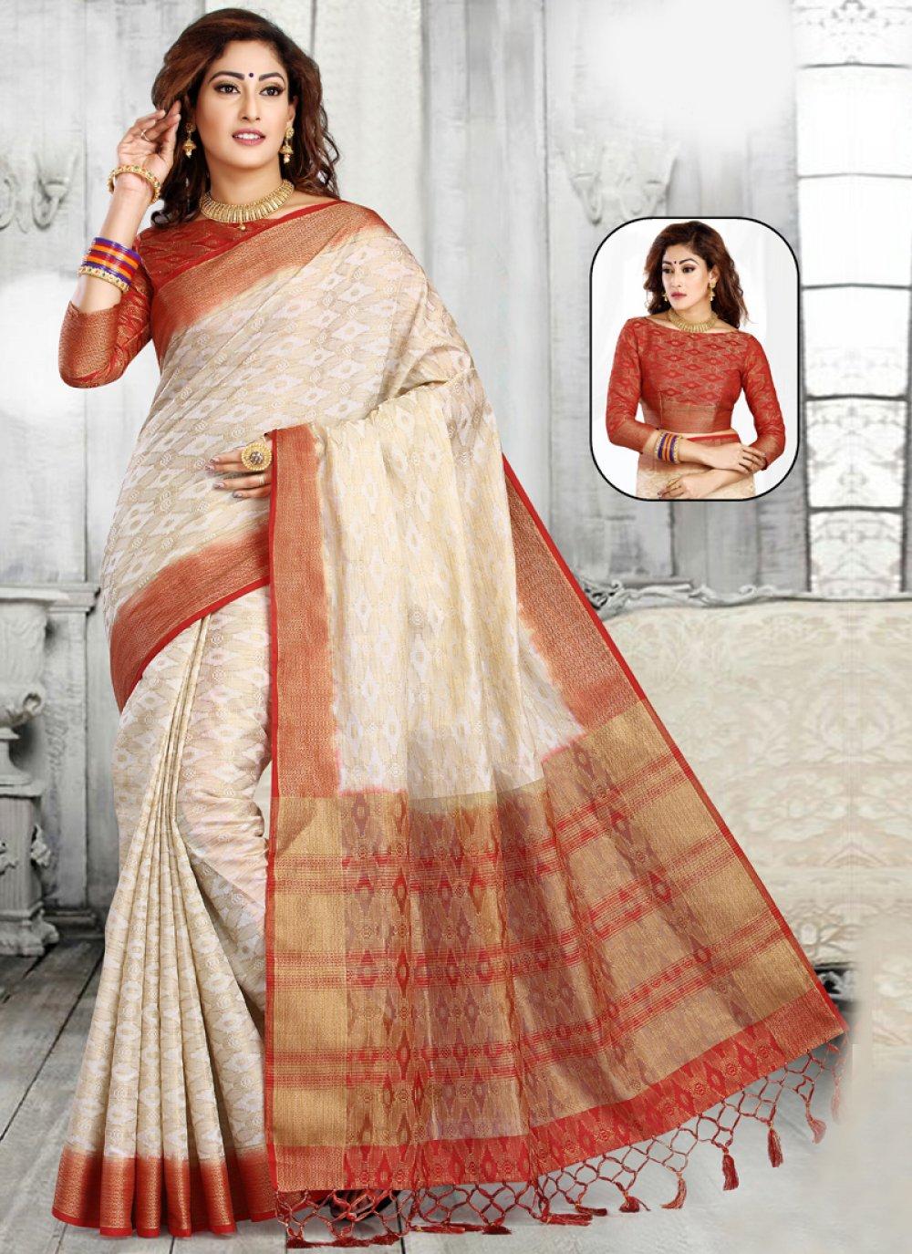 Cream and Red Jacquard Classic Designer Saree