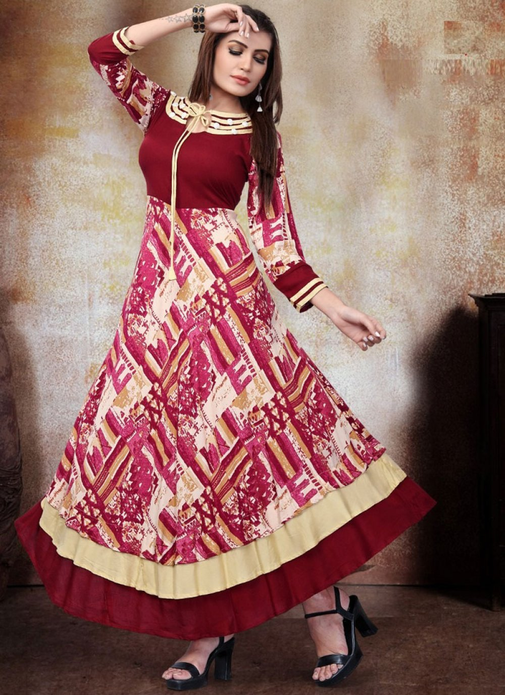 Cream and Red Rayon Festival Casual Kurti