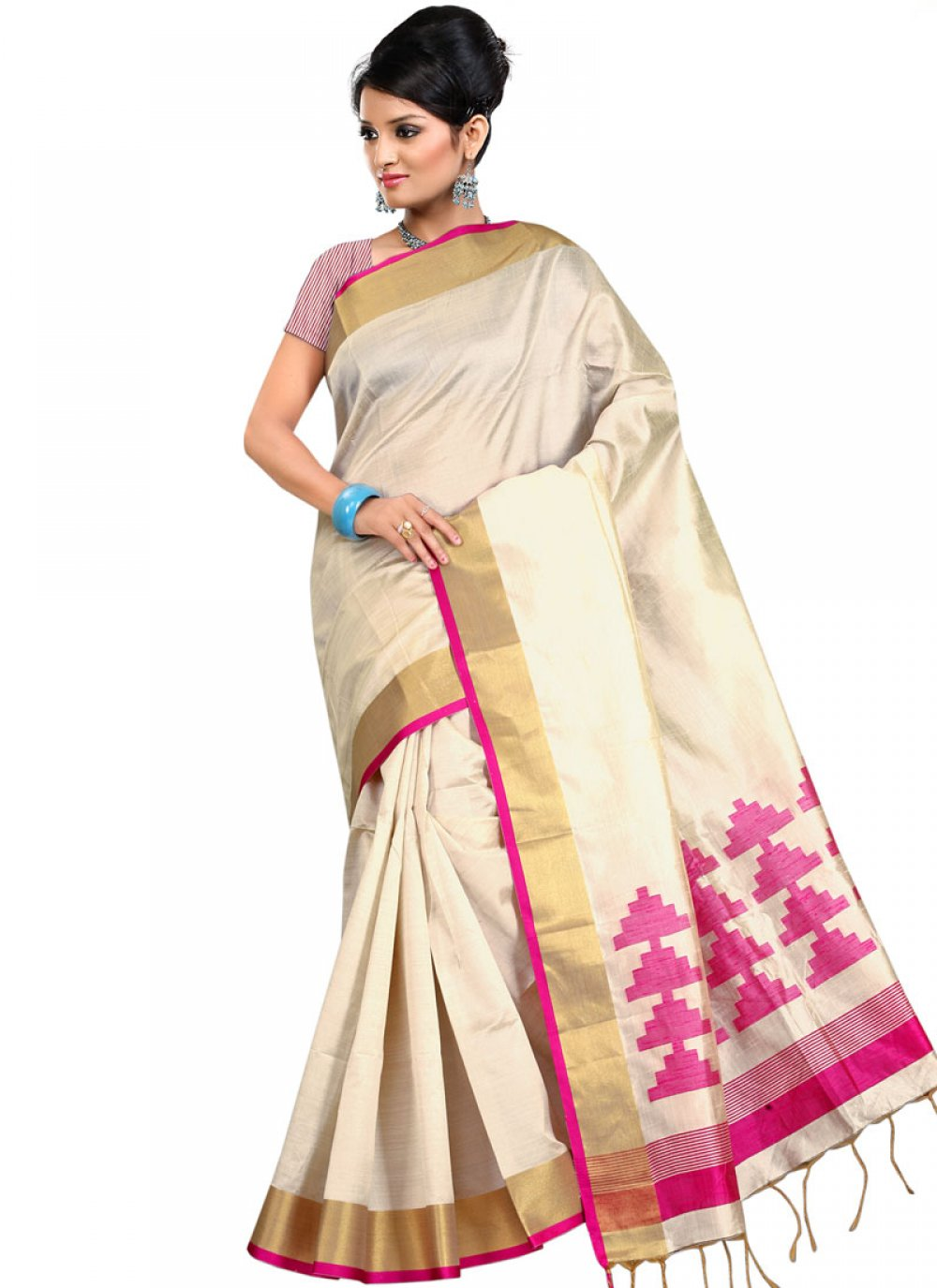 Cream Art Silk Festival Traditional  Saree