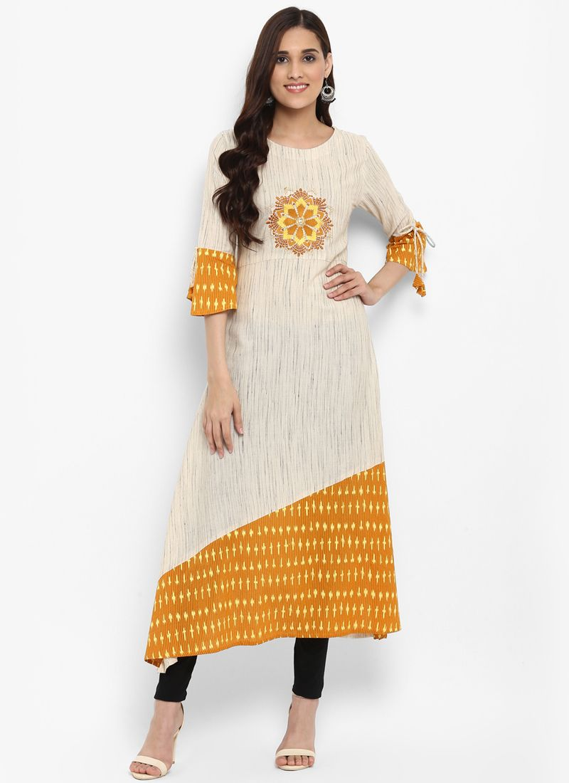 Cream Blended Cotton Mehndi Kurta