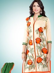 Cream Cotton   Festival Designer Straight Suit