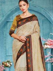 Cream Designer Traditional Saree