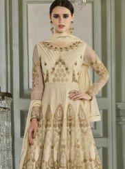 Cream Embroidered Anarkali Salwar Suit