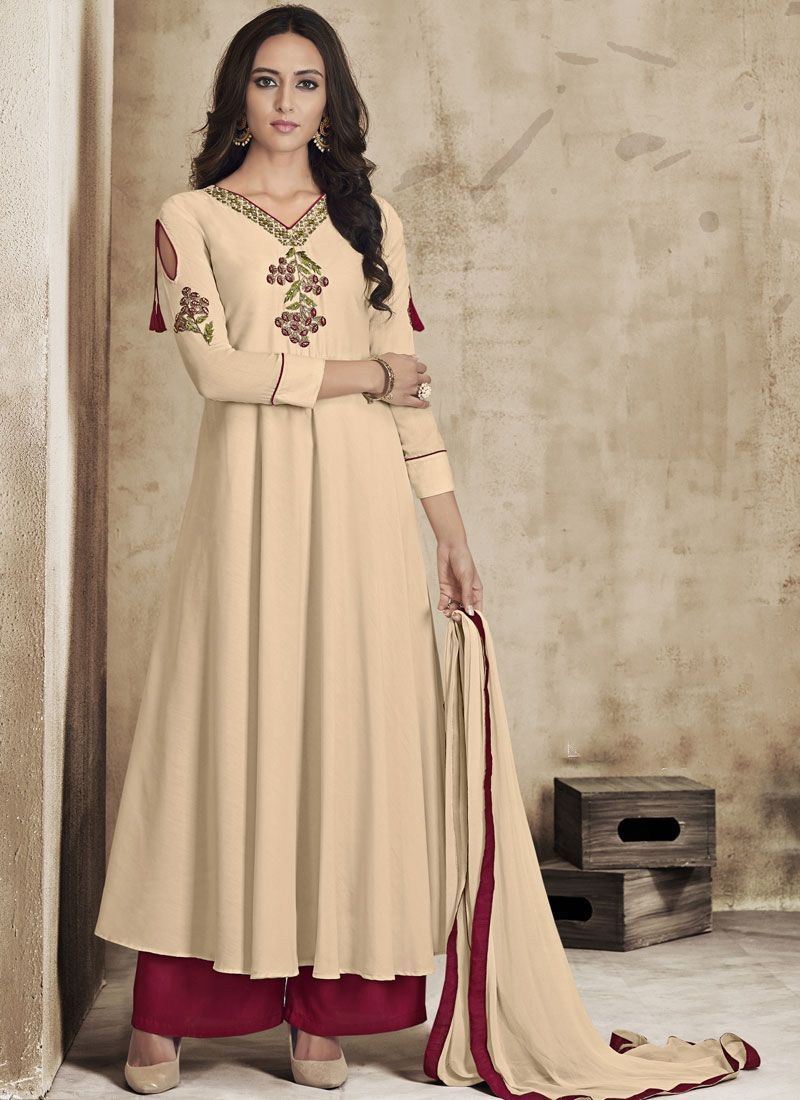 Cream Embroidered Casual Palazzo Salwar Kameez