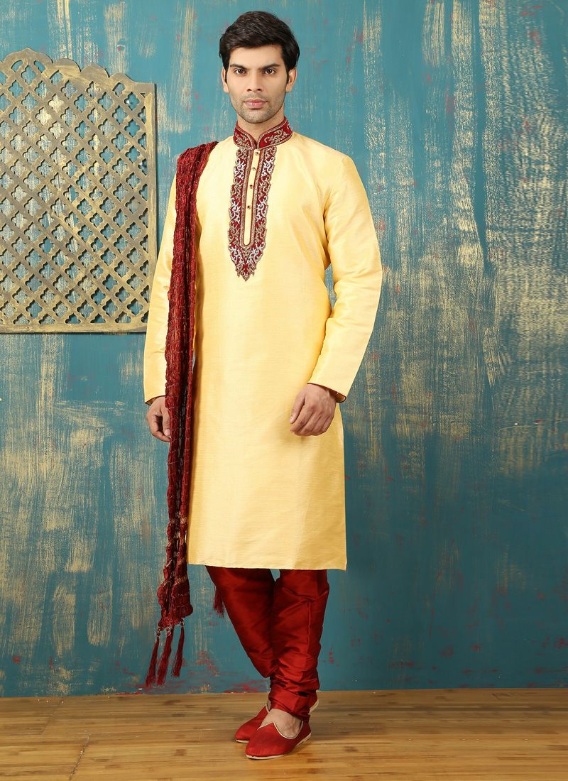 Cream Embroidered Work Dupion Silk Kurta Pyjama