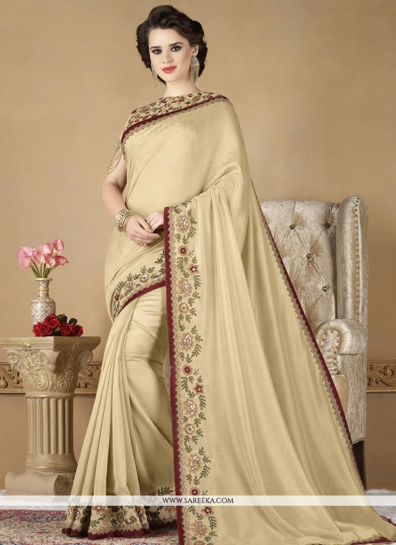 Cream Embroidered Work Fancy Fabric Classic Designer Saree