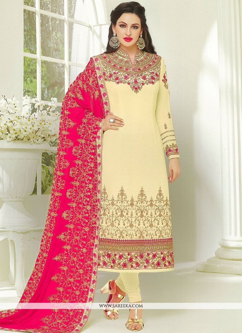 Cream Faux Georgette Designer Suit