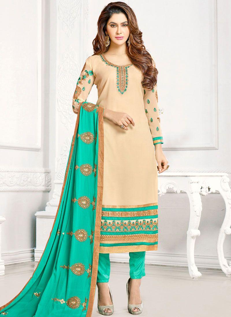 b5ce5581e Cream Georgette Churidar Designer Suit buy online -