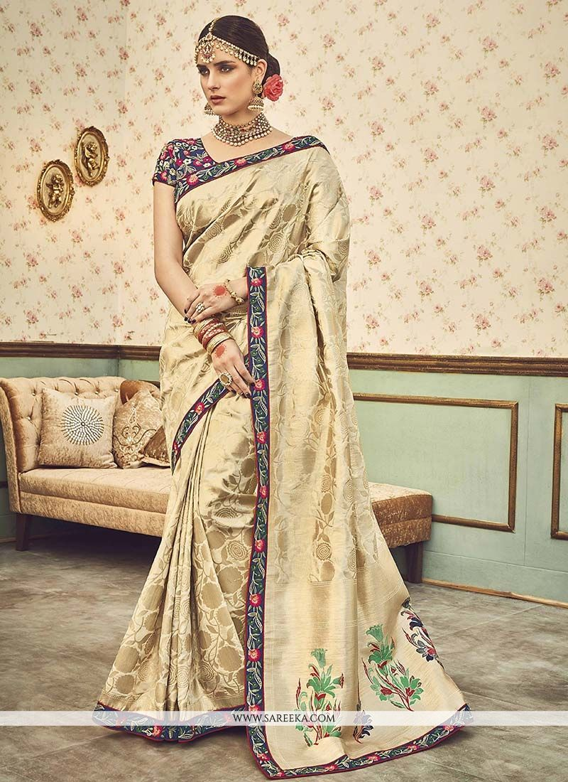 Cream Lace Work Art Silk Designer Traditional Saree