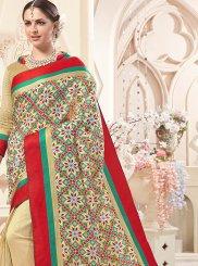 Cream Print Art Silk Designer Saree