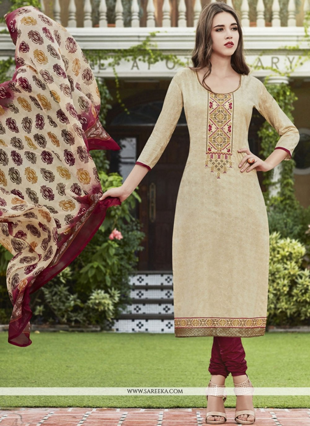 Cream Print Work Cotton Satin Churidar Suit