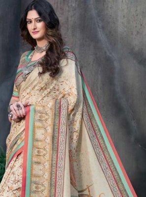 Cream Printed Tussar Silk Traditional Designer Saree