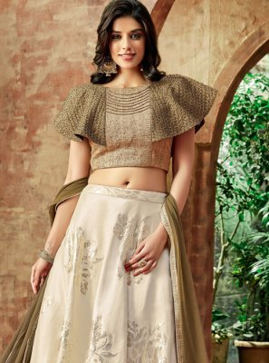 Cream Resham Wedding Lehenga Choli