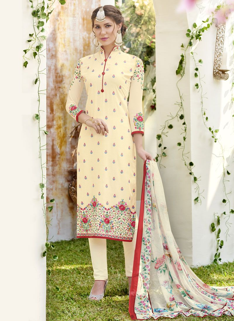 Cream Resham Work Designer Straight Suit