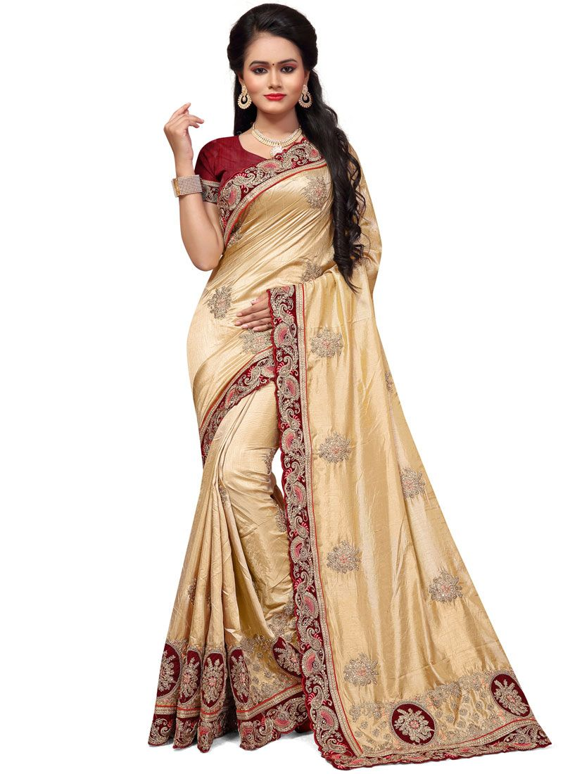 Cream Silk Classic Designer Saree