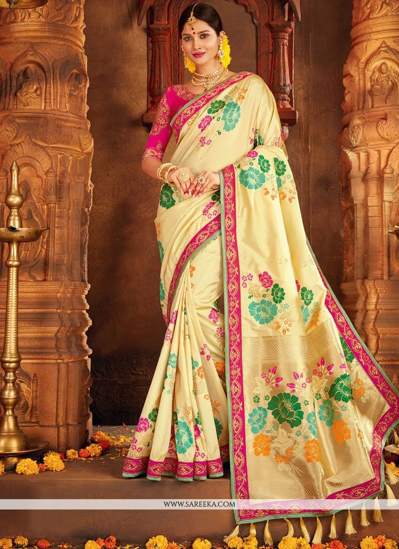 Cream Traditional  Saree
