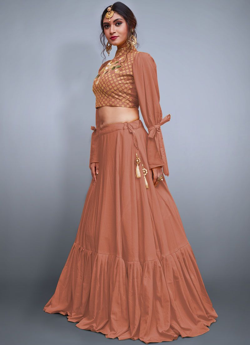 Crepe Silk Embroidered Peach Readymade Lehenga Choli