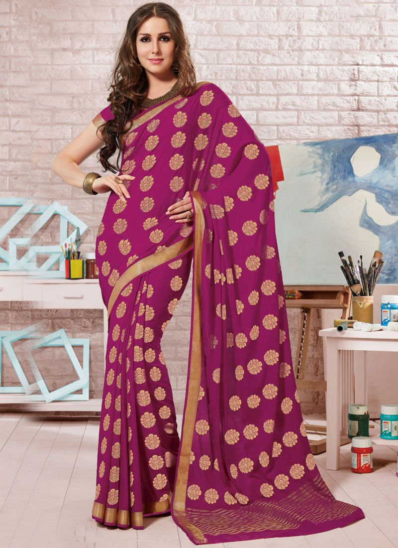 Crepe Silk Magenta Designer Traditional Saree