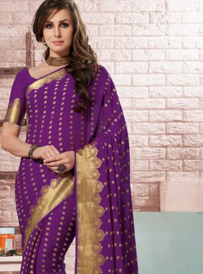 Crepe Silk Purple Traditional Designer Saree