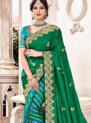 Designer Half N Half Saree Resham Fancy Fabric in Green and Sea Green
