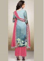 Designer Palazzo Suit Digital Print Maslin Silk in Blue