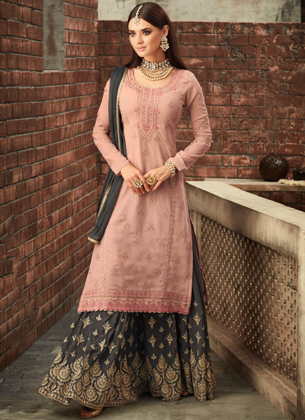 Designer Palazzo Suit Resham Faux Georgette in Grey and Pink