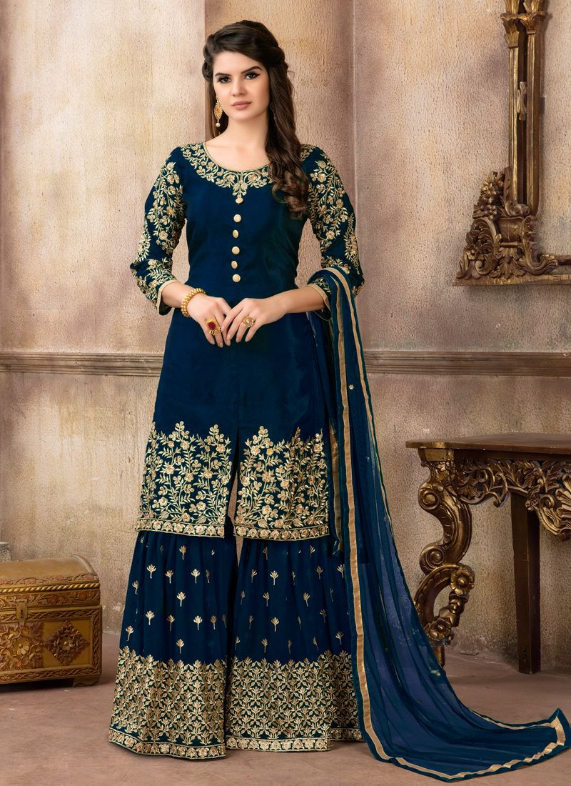 Designer Palazzo Suit Resham Viscose in Navy Blue