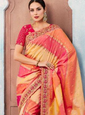 Designer Saree Embroidered Tafeta silk in Multi Colour