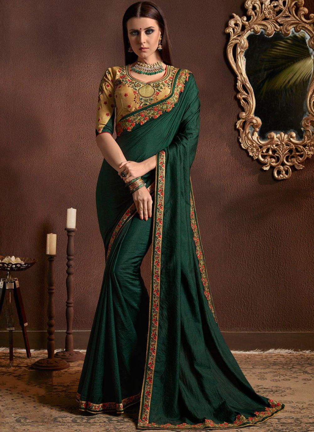 Designer Saree Resham Faux Georgette in Green