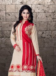 Designer Straight Suit Embroidered Cotton   in Beige and Red