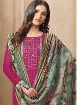 Designer Straight Suit Print Chanderi in Hot Pink